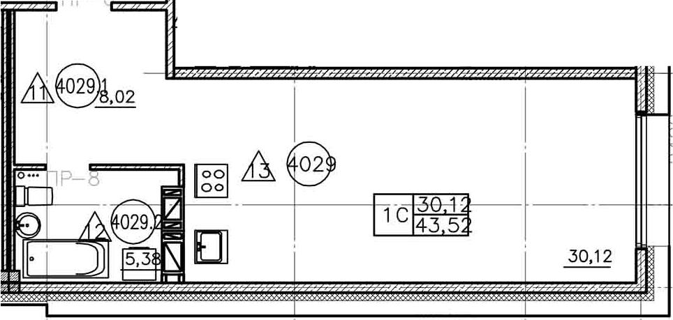 Планировка Студия площадью 43.52 кв.м в ЖК «Prime Residence»
