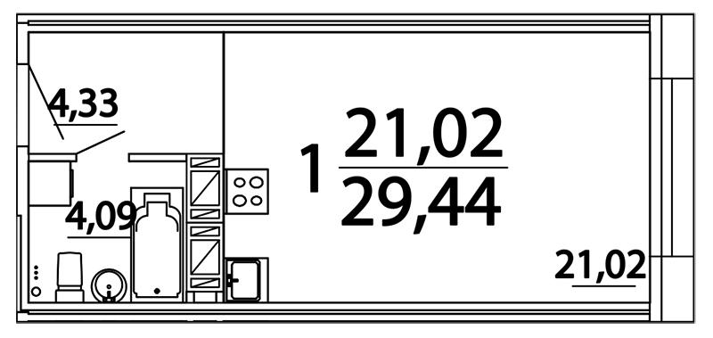 Планировка Студия площадью 29.44 кв.м в ЖК «Prime Residence»