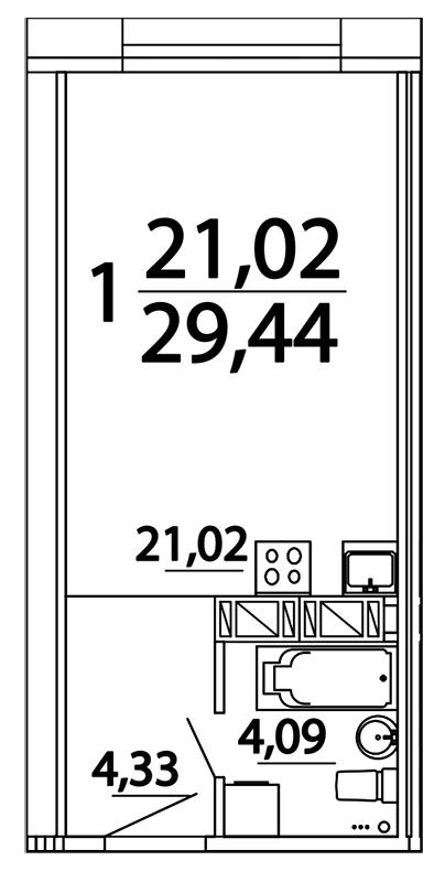 Планировка Студия площадью 27.52 кв.м в ЖК «Prime Residence»