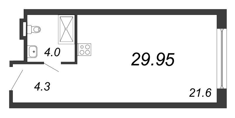 Планировка Студия площадью 29.95 кв.м в ЖК «Prime Residence»