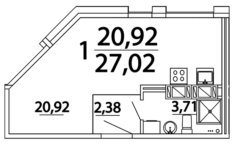 Планировка Студия площадью 26.5 кв.м в ЖК «Prime Residence»