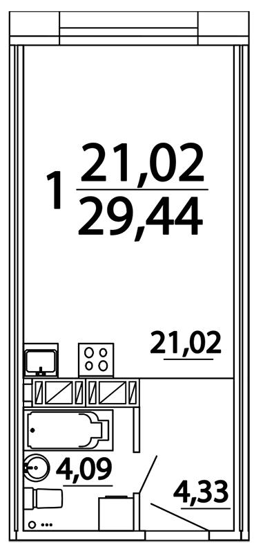Планировка Студия площадью 29.31 кв.м в ЖК «Prime Residence»