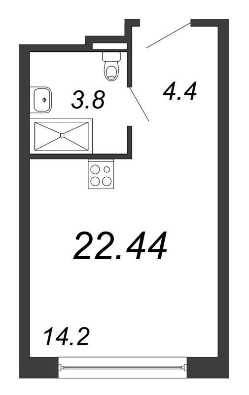 Планировка Студия площадью 22.44 кв.м в ЖК «Prime Residence»