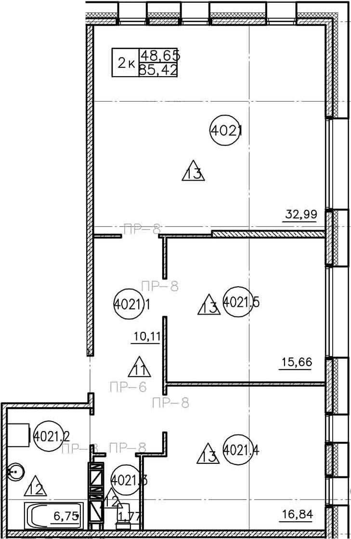 Планировка Двухкомнатная квартира площадью 85.42 кв.м в ЖК «Prime Residence»