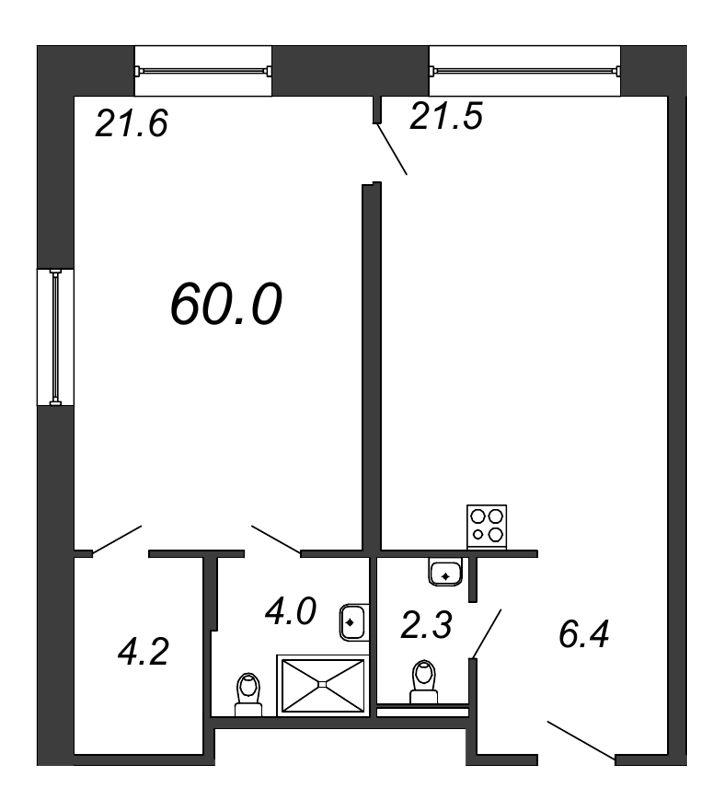 Планировка Однокомнатная квартира площадью 60 кв.м в ЖК «Prime Residence»