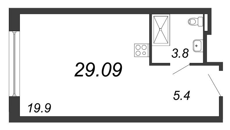 Планировка Студия площадью 29.09 кв.м в ЖК «Prime Residence»